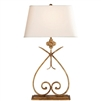 Ciao Bella Harper Table Lamp in Gilded Iron with Natural Paper Shade