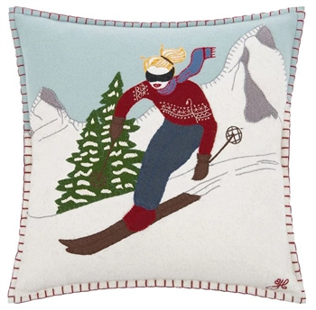Jan Constantine Alpine Skier Girl Christmas Pillow Petoskey