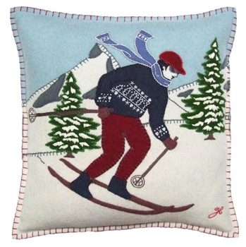Jan Constantine Alpine Skier Man Christmas Pillow Petoskey