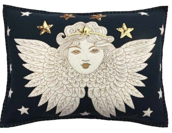 Jan Constantine Navy Christmas Angel Pillow Petoskey
