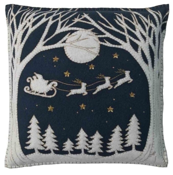 Jan Constantine Navy Christmas Eve Pillow Petoskey