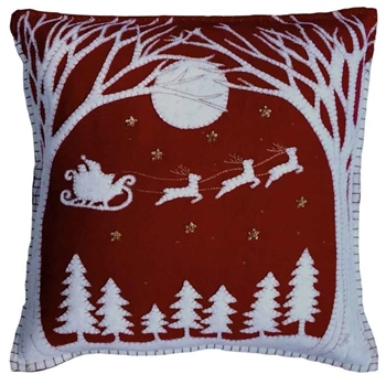 Jan Constantine Red Christmas Eve Pillow Petoskey