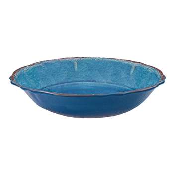 "Antiqua Blue Melamine 13.75"" Salad Serving Bowl by Le Cadeaux"