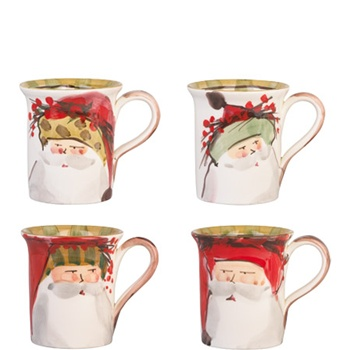 "Assorted Handpainted Santa Claus Mug, 4.5""h, 14 oz,"