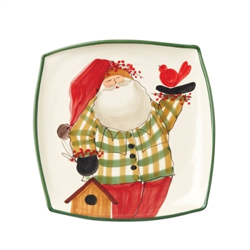 Vietri Old St. Nick: Square Platter with Bird Ciao Bella Petoskey