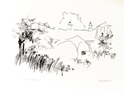 "Fine Art Drawing:, ""Birchwood Farm"", NW Michigan  by Hennie Reimer: Pen and Ink"