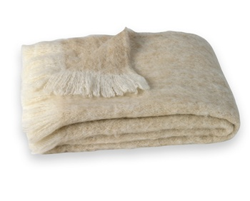 "Sand: Hand Brushed Alpaca Throw.  51"" x 72"". Crafted from naturally occurring colors so no dyes are needed, this Brushed Alpaca Throw is silky soft, naturally repels dirt and retains heat. Alpaca fiber is non-irritating and hypo-allergenic."