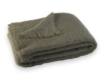 Brushed Mohair Blanket Throw: Ashwood