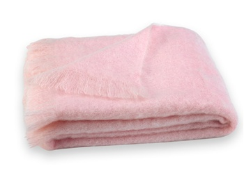 Brushed Mohair Blanket Throw: Cotton Candy