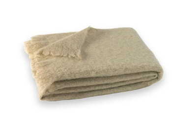 Brushed Mohair Blanket Throw: Flax