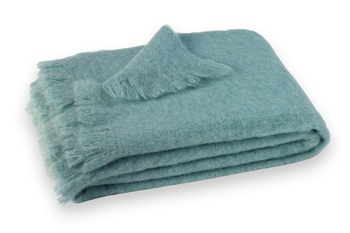 Brushed Mohair Blanket Throw: Glacier Blue