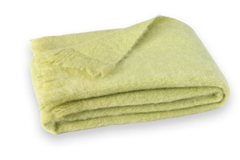 Brushed Mohair Blanket Throw: Honey Dew