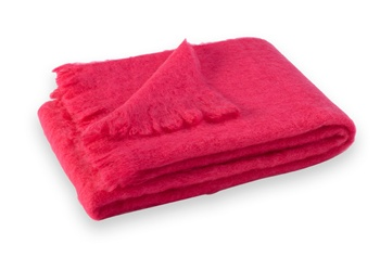 Brushed Mohair Blanket Throw: Hot Pink