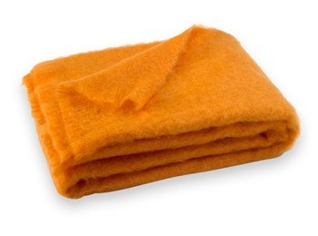 Brushed Mohair Blanket Throw: Mango