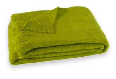 Brushed Mohair Blanket Throw: Pesto