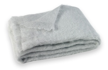 Brushed Mohair Blanket Throw: Silver