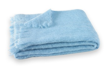 Brushed Mohair Blanket Throw: Sky Blue