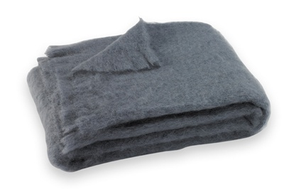 Brushed Mohair Blanket Throw: Storm
